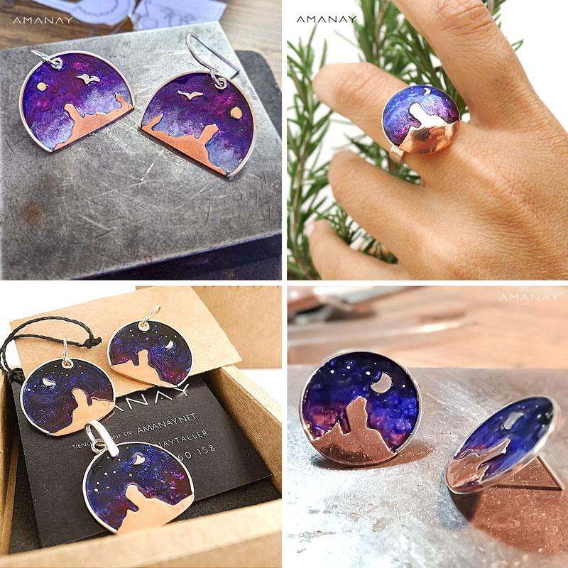 colección de pendientes y anillo roque nublo de la joyería amanay
