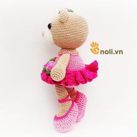 Hướng dẫn móc gấu Bibi mặc váy hoa bằng len sợi