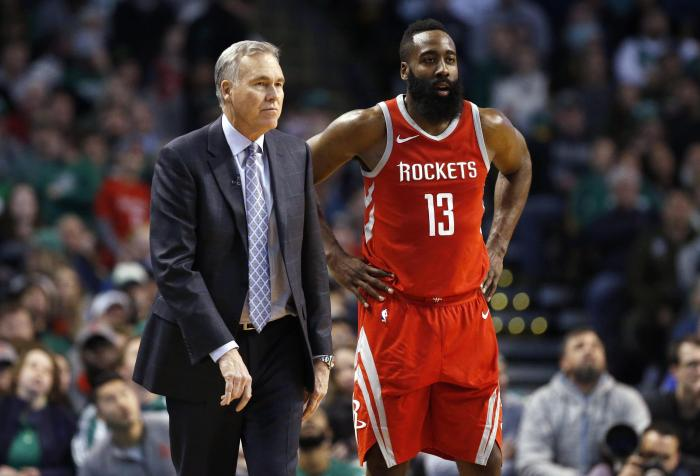 James Harden and Mike D'Antoni on sideline