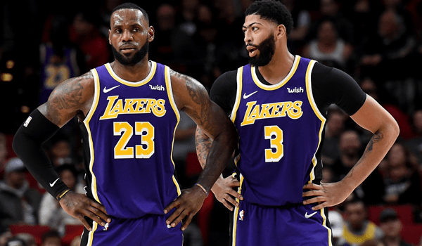 Lakers starters Anthony Davis and LeBron James