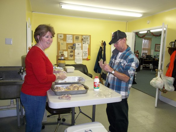 David & Maryann making pot pie for the RTCOM Soup Kitchen. David says he likes doing it. Amy says its hard work but it was good! Mmmm mmm!!
