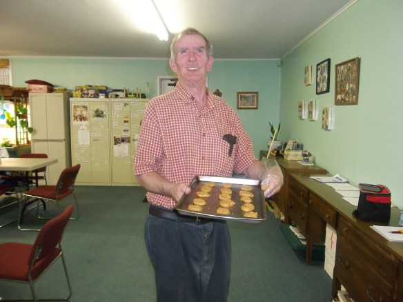 Jackie with cookies we made for Market Street Methodist Church.