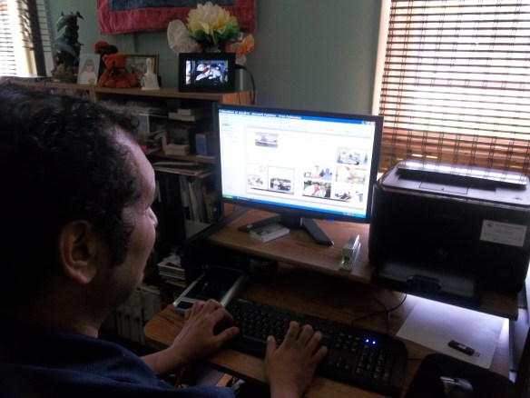 Zel busy working on this months newsletter!!