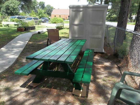 """""""Thank you Gayle and David Shaw for donated this nice picnic table!  """"Look we have it some color!!""""- Amy"""