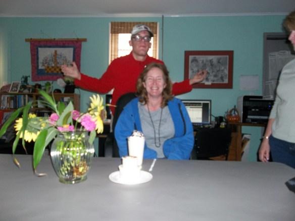 Happy Birthday, Rachel!!  Brandon was so excited he photo bombed her!