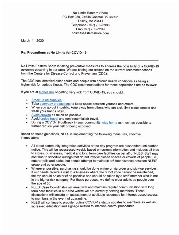 memo on COVID-19 response
