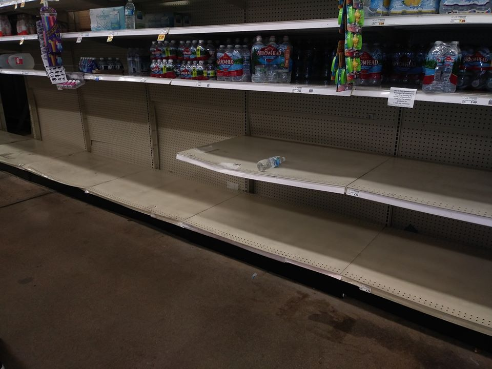 Empty water shelves because people see water as life. In the Bible, water is a symbol of power over it.