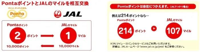 PontaをJALマイルに交換