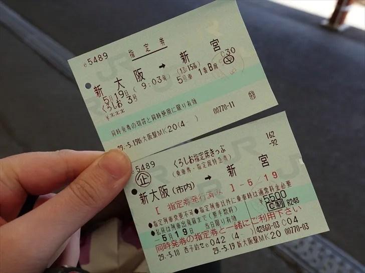 くろしお指定席きっぷの乗車券と指定券