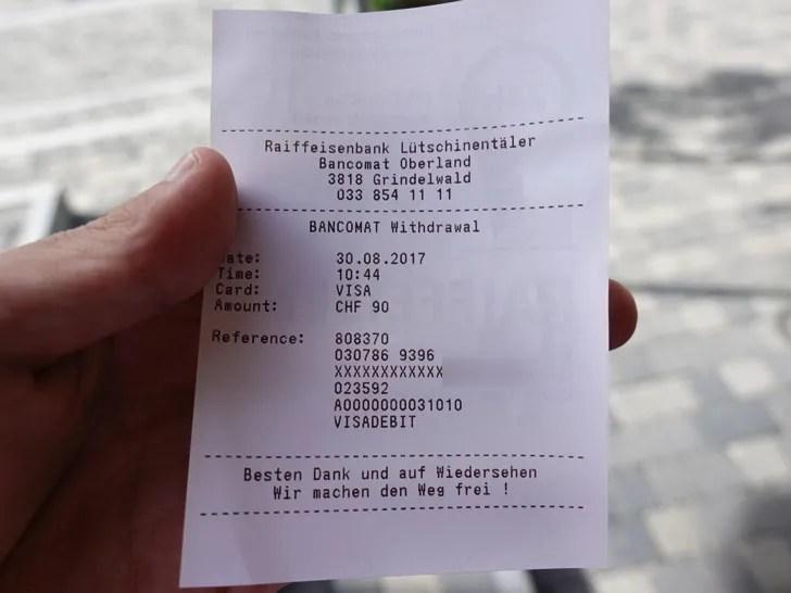 スイスのATMで現金を引き出したあとのレシート