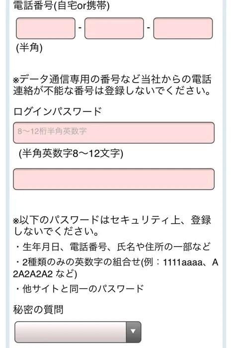 Vプリカ 本登録 電話番号とパスワード入力