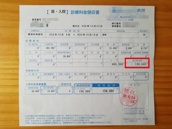 【高額療養費の申請方法】病院の領収証に載っている自己負担額