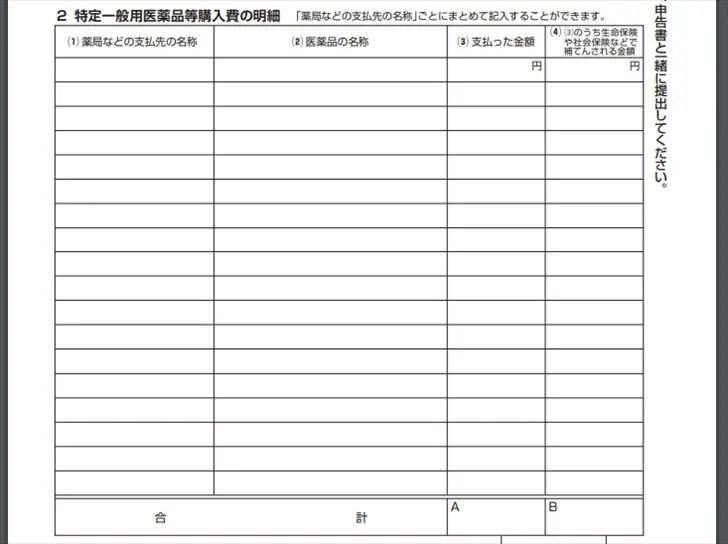 セルフメディケーション税制の明細書、詳細記入欄