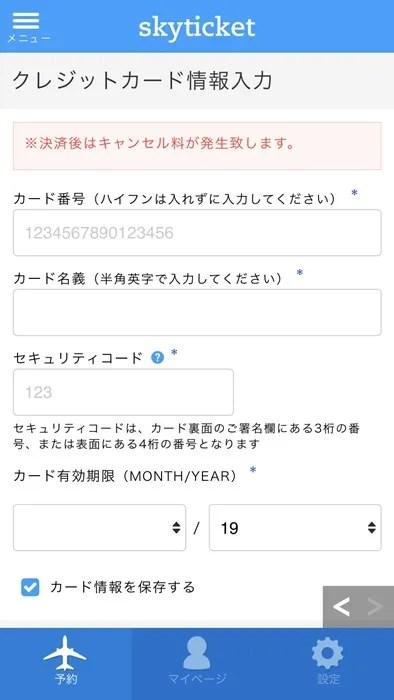 スカイチケット 購入画面09