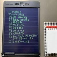ブギーボードBB-13と手書きのメモが貼り付けられた筆者宅の冷蔵庫
