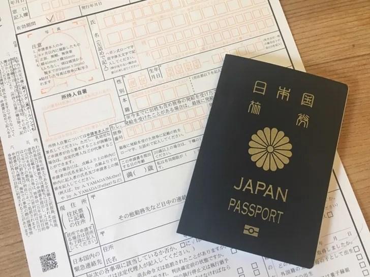 5年用パスポートと申請書写真