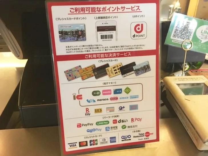 上島珈琲店支払い方法写真