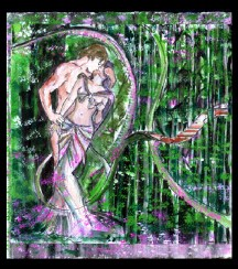 """Dionysus and Artemis"" Ink and water color."