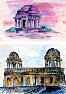 Ruins - two watercolors of palaces in Mandu, India,