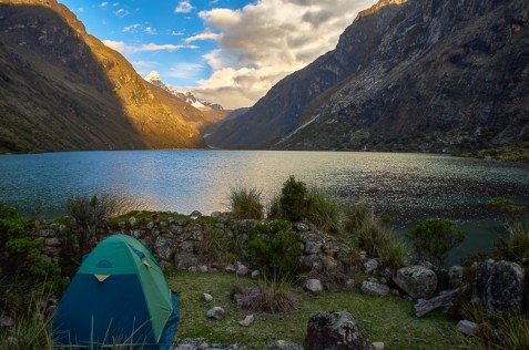 Camping during the Santa Cruz trek without a guide in Peru