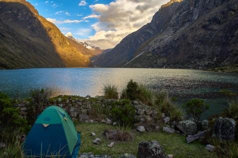 Camping during the Santa Cruz trek without a guide in Peru