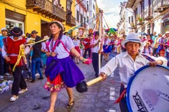Dancers at the Pase del Niño parade in Cuenca, Ecuador