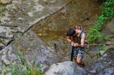 Climb down at Juan Curi waterfall near San Gil, Colombia