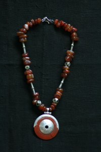 Tuareg necklace carnelian and antique tuareg beads