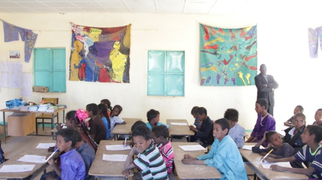 We showed off the school.  See those beautiful paintings the kids did? (under the auspices of Linda Taylor)