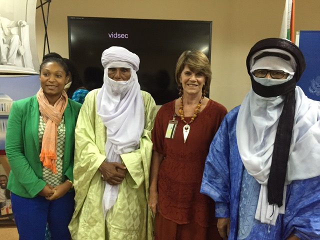 Deneyse Kirkpatrick, director of the American Cultural Center, Akoli Daouel, Leslie, Rhissa Ag Bulla. No two Tuareg have done more for their people than these two. I was honored they came and spoke highly of the film and the work of the Nomad Foundation.