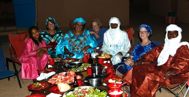 Party at my house in Agadez: Sumeya (Sidi's daughter, me, Fatimatou (Sidi's wife) Pat, Hasso (who played his guitar), Dr. Becky and Isma (our driver).
