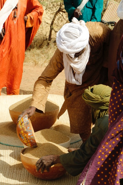 Millet is contributed by each family of the grooms to feed the hundreds of guests.