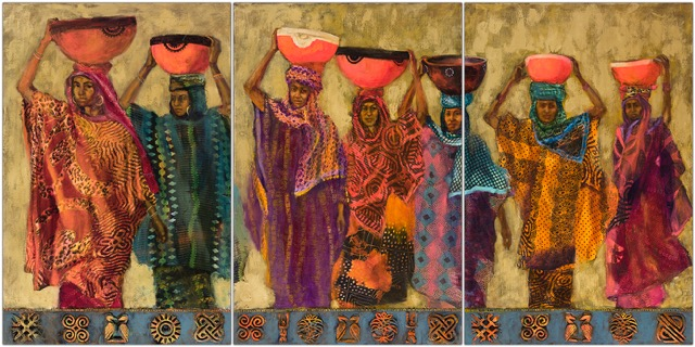 "36 x 72"" triptych oil, fabric collage and cast fabric stamps and carvings on canvas"