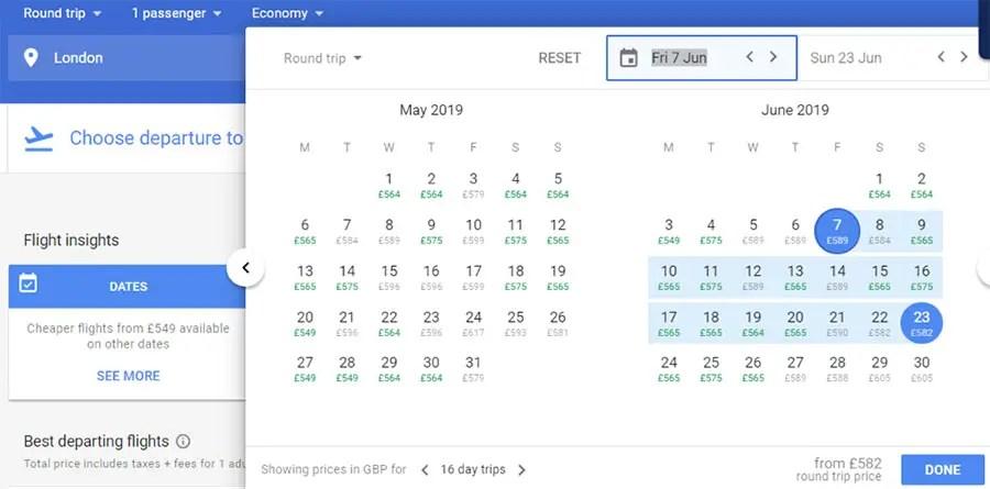 Save Money On Airfares - flight calendar