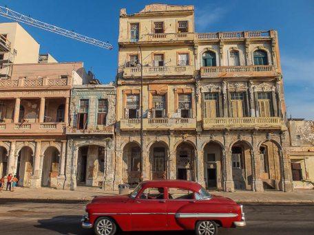 A Crane Modernizing Havana's Malecon
