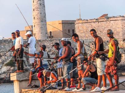 Fishing at Sunset on Havana's Malecon