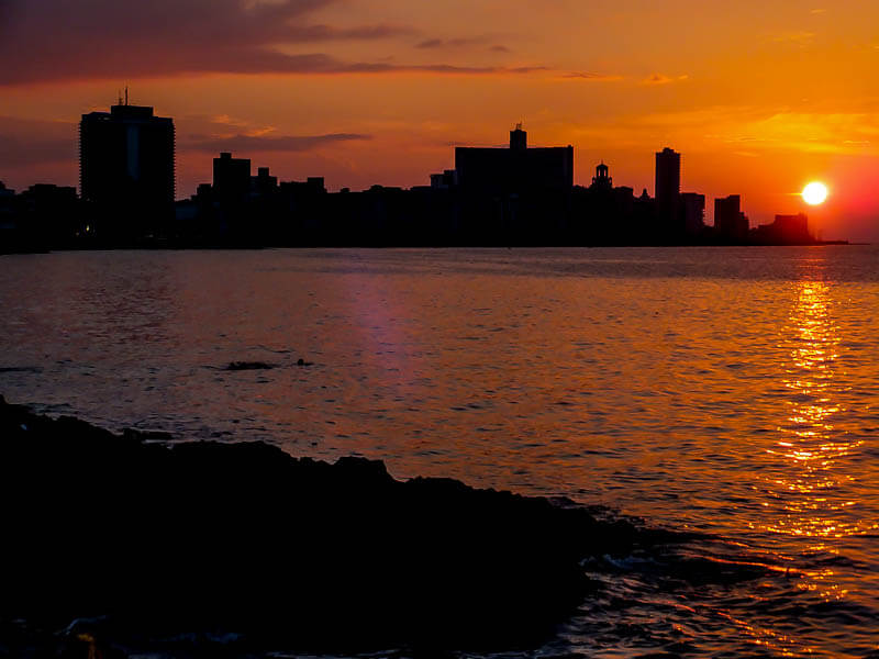 Sunset on Havana's Malecon
