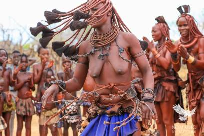 Twirling at the Himba Ondjongo Dance, Namibia