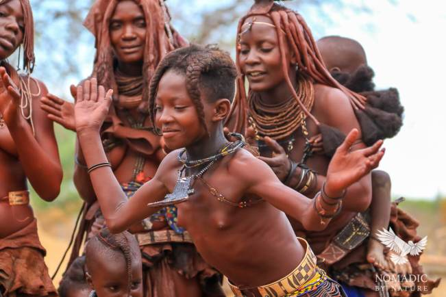 A Young Himba Girl Dancing Ondjongo, Namibia