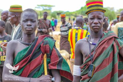 Karamojong Herders with Cellphones, Karamoja, Uganda