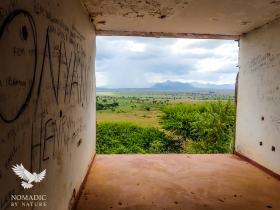 Looking Out from the Abandoned Katurum Lodge at a Storm, Kidepo Valley National Park, Uganda