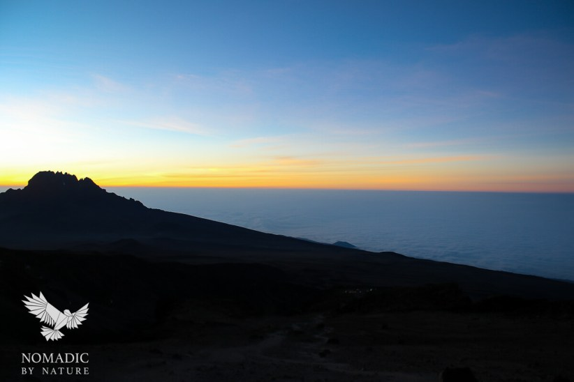 The Sunrise Over the Clouds on Summit Day, Climbing Mount Kilimanjaro, Tanzania