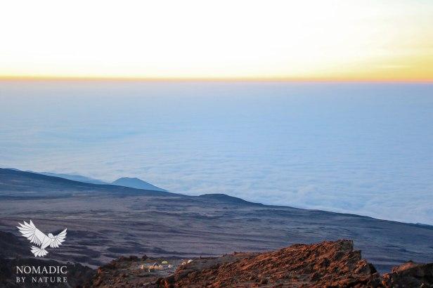 Looking Down at Barafu Camp Over a Sea of Clouds, Climbing Mount Kilimanjaro, Tanzania