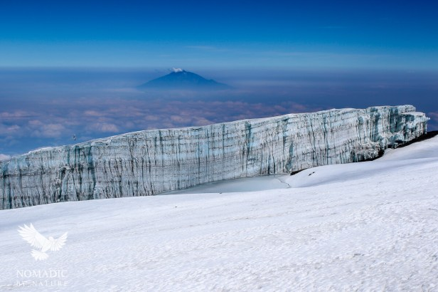 A Massive African Glacier with Mount Meru in the Background, Mount Kilimanjaro, Tanzania