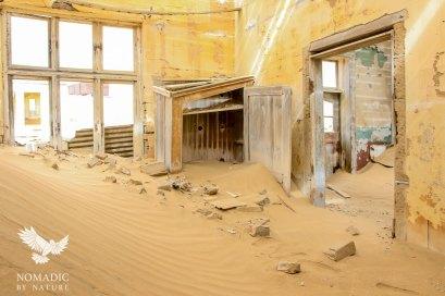Dunes Flowing in the Windows, Kolmanskop Ghost Town, Namibia
