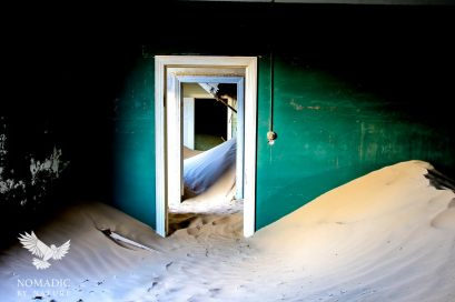 Shadowy Dunes through a Green House, Kolmanskop Ghost Town, Namibia