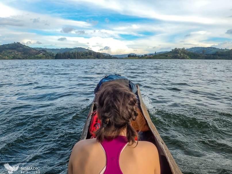 Paddling a Dugout Canoe, Lake Bunyonyi, Uganda