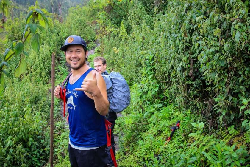 Taking a Break to Throw a Shaka in the Rwenzori Mountains
