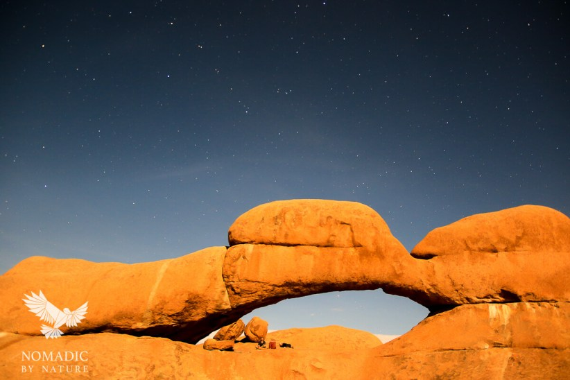Drinking Whiskey and Wine under the Arch, Spitzkoppe, Namibia