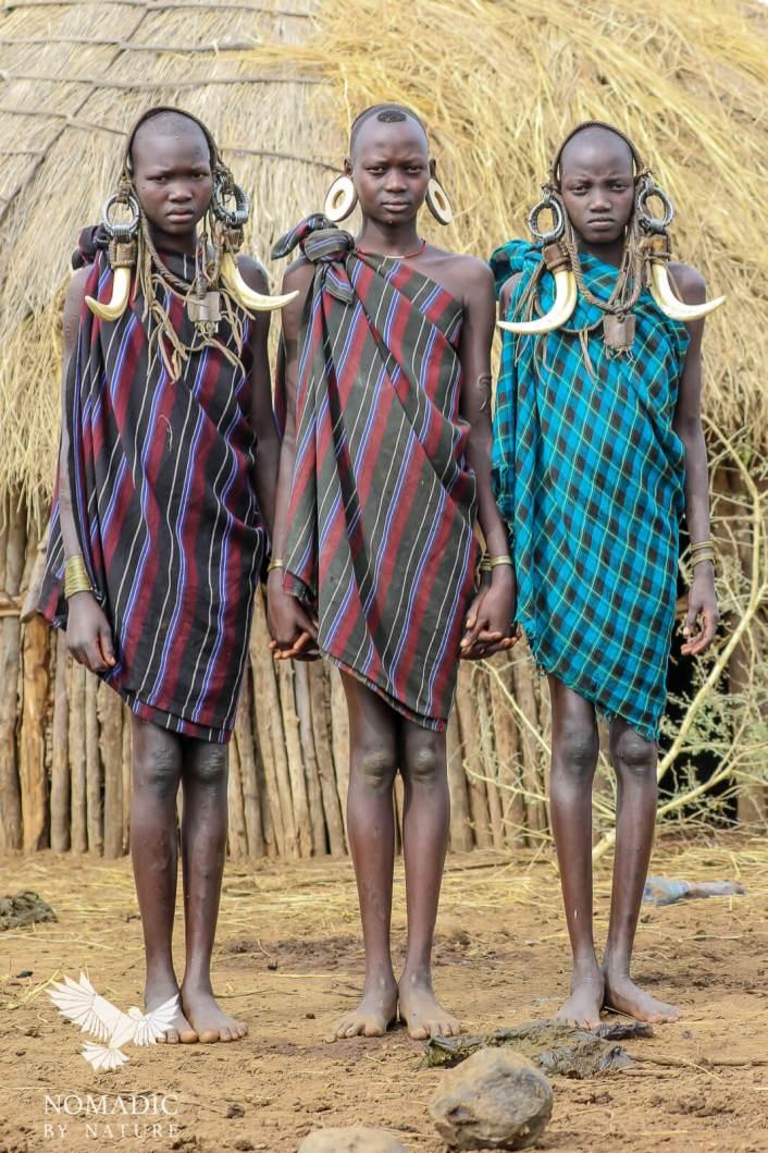 Three Tall, Slender Mursi Girls, Ethiopia
